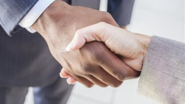 African American Businessman and Woman Shaking Hands